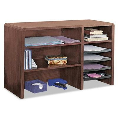 Safco - Desktop Organizer Nine Sections 29 X 12 X 18 Mahogany ''Product Category: Desk Accessories & Workspace Organizers/Sorters''