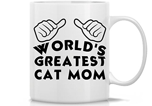 World's Greatest Cat Mom White Coffee Mug | Great Mug Gift Idea for Cats and Cat Lovers | 11 Oz Funny Cat Coffee Mug by Hot Ass -