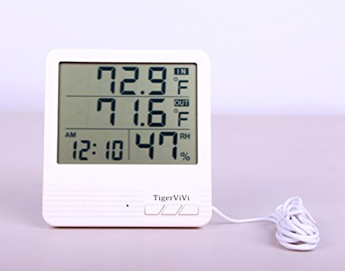 Tigervivi-Indoor-Outdoor-Digital-Thermometer-Hygrometer-Temperature-Meter-Gauge-Alarm-Clock-Calendar-LCD-with-Sensor-Multi-function