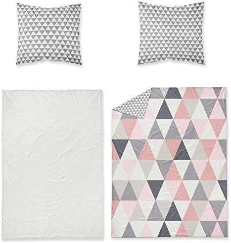 220x240 TODAY Softy Inga-Parure HC3 Blanc//Gris//Rose Housse de Couette 2 taies doreiller-100/% Coton