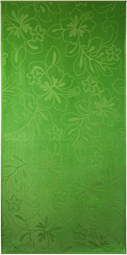 Lime (Light Green) Hibiscus Velour Jacquard Brazilian Beach Towel 30x60 Inches