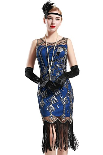 BABEYOND 20's Vintage Peacock Sequin Fringed Party Flapper Dress (Blue with Black Fringe, Medium) ()