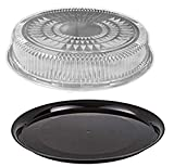Durable Packaging 12' Black Round Flat Disposable Catering Party Tray Food Platter +Clear Dome Lid (pack of 5)