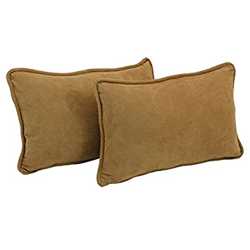 Blazing Needles Corded Solid Microsuede Rectangular Throw Pillows with Inserts Set of 2 , 20 by 12 , Camel