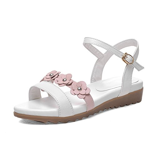 AllhqFashion Womens Buckle Open Toe Low Heels Cow Leather Solid Sandals Pink RV65CMgAv