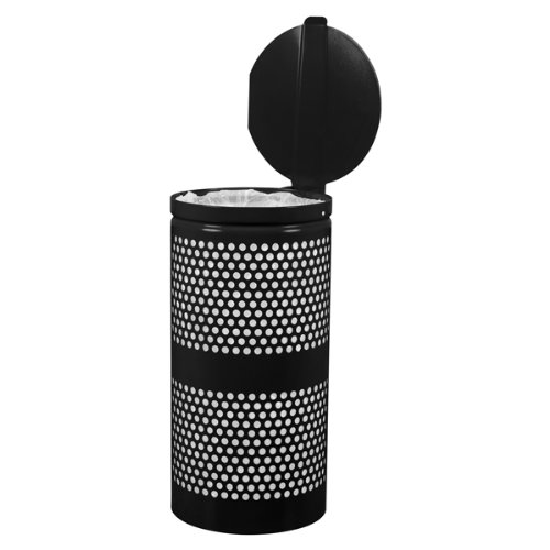 Landscape Waste Receptacles, 10 gal Perforated Black Gloss