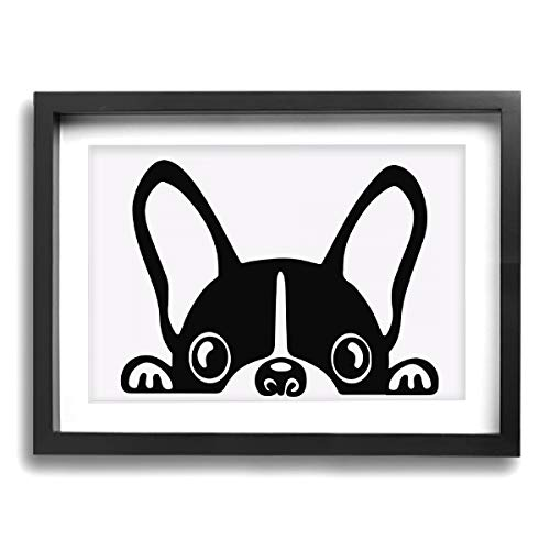CLLSHOME 12x16 Inches Wall Decor Toilet Bathroom Framed Art Print Picture French Bulldog Wall Art for Home Decorations