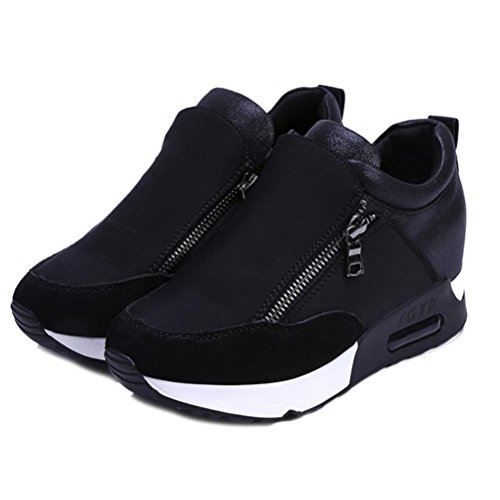haoricu Sports Shoes Women, Women Wedges Boots Platform Shoes Slip On Ankle Boots Fashion Casual Running Hiking Sneakers (US:5, Black)
