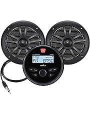 "Velex Marine Audio System AM FM Radio Bluetooth Streaming 6.5"" Speaker Antenna Package"