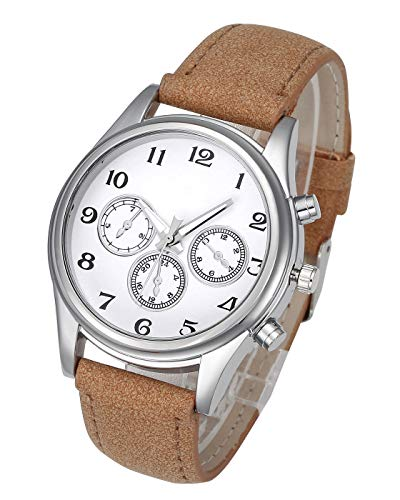 Dial Dress Brown (Top Plaza Mens Leather Wrist Watch Classic Casual Big Face Arabic Numerals Silver Case Analog Quartz Dress Watches with Decorated Second Dial - Brown #1)