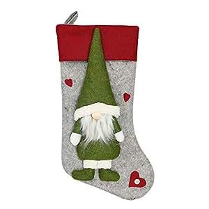 TOOGOO Christmas Stocking Santa Claus Candy Gift Bag Xmas Tree Hanging Decor Gray