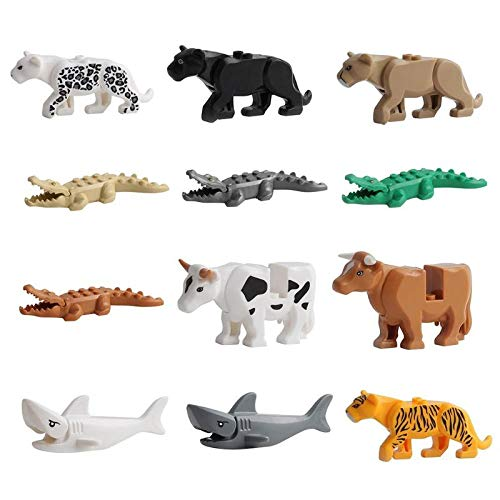 Warmtree Animal Building Block Sets Figures Bricks Toys Educational Model for Children Gift, Set of 12