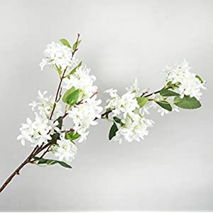 Skyseen 3Pcs Lilac Silk Flower Artificial Syringa Linn Arrangement,White 2