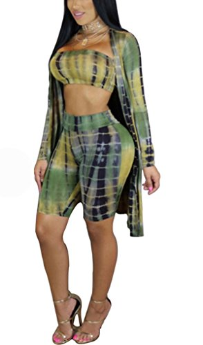Women's 3pcs Outfit Sexy Bodycon Two Pieces Printed Wrapped Tube Top + Knee Length Short Pants Shawl Coat Cover Up Green M (Coat Pants Top)