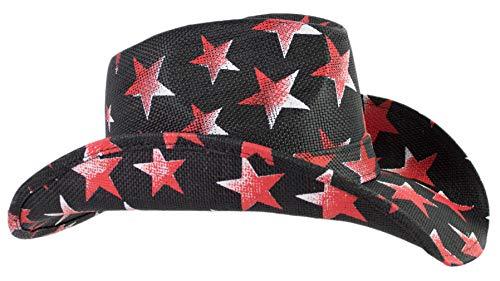 American Patriotic Western Black Straw Cowboy Hat, Vintage Style Red & White Stars, Shape-able Brim, Flex Fit