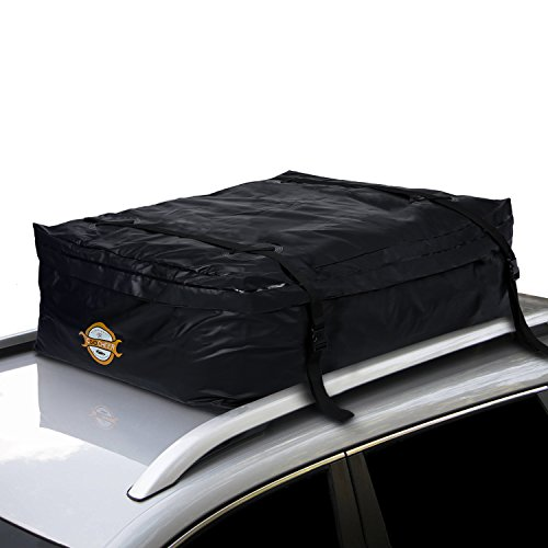 COOCHEER Car Roof Carrier- Waterproof Universal Soft Rooftop Bag Luggage Cargo Carriers for Car with Racks,Travel Touring,Cars,Vans, Suvs (19.2 Cubic Feet, Black)