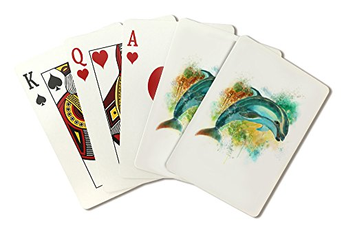 Pacific White-Sided Dolphin - Watercolor (Playing Card Deck - 52 Card Poker Size with Jokers)