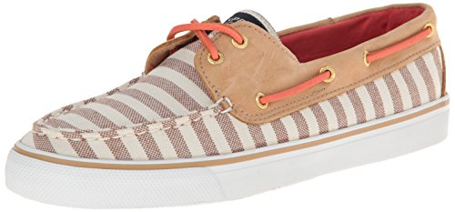 Sperry Top-Sider Women's Bahama Breton Stripe Fashion Sneaker, Sand/Coral, 5 M US