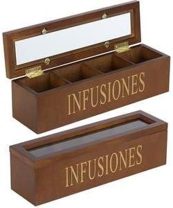 Caja de madera para guardar infusiones: Amazon.es: Hogar