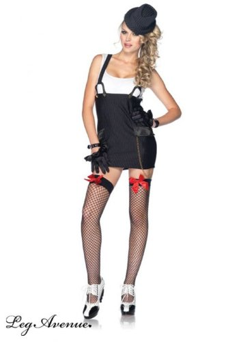 Leg Avenue Women's Gangster Girl Costume, Black/White, Small -