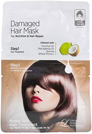 Lindsay Home Aesthetics Damaged Hair Mask for Nutrition and Hair Repair - Infused with Coconut Oil, Macadamia Oil, Quinoa -1 oz (Pack of 3)