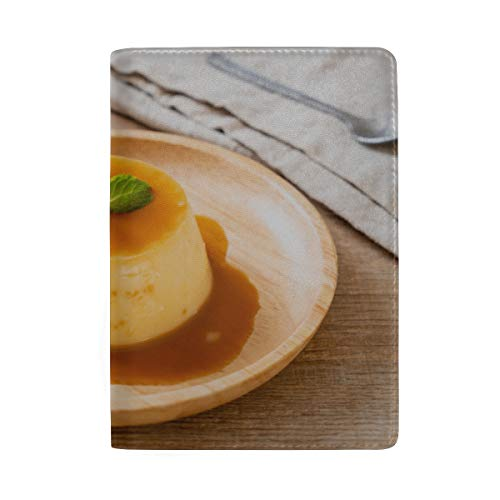 Homemade Caramel Custard Pudding Blocking Print Passport Holder Cover Case Travel Luggage Passport Wallet Card Holder Made With Leather For Men Women Kids Family