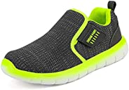 DREAM PAIRS Boys Girls Athletic Sports Sneakers Slip on Tennis Running Shoes Grey Neon Size 9 Toddler Luca