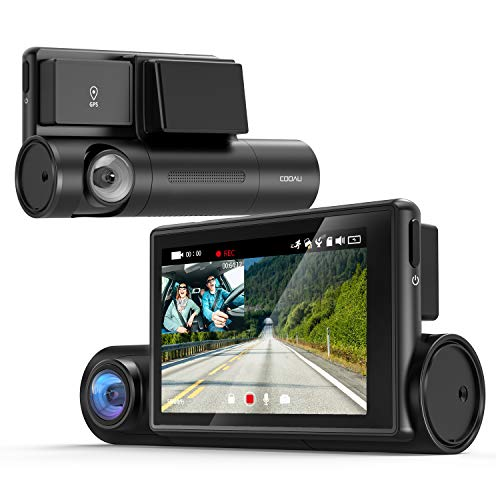 【WiFi&GPS搭載】COOAU ドライブレコーダー 1080P前後カメラ 車内カメラ 1200万画素 スーパーナイト LED信号機対応 電波干渉ノイズ対策済み 3インチOLEDタッチパネル 左右反転鏡像修正 音声記録 WDR 配線不要 煽り運転防止 小型ドラレコ (1)