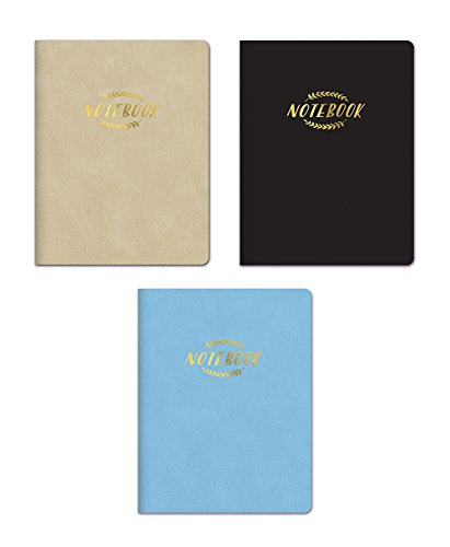 Studio Oh! 3-Count Large Leatheresque Classic Journal Notebook Trio Assortment in Black, Gold, Sky Blue (Trio Leather)