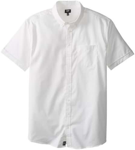 Lee - Mens Big Short Sleeve Oxford Shirt, White 34352-XX-Large