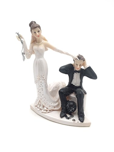 Bride and Groom Cake Top Funny Couple Ball and Chained Groom