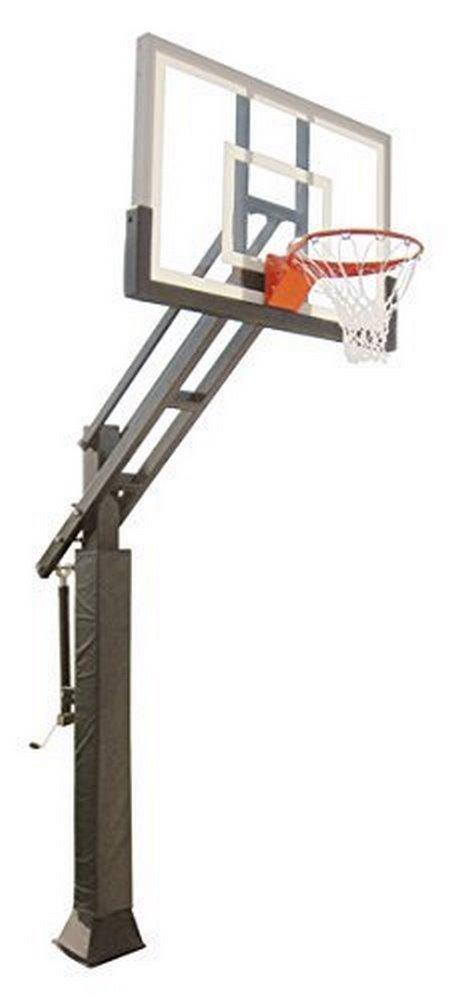 """First Team Triple Threat In-ground Adjustable Basketball Goal Hoop with 54"""" Glass Backboard System for Outdoor…"""
