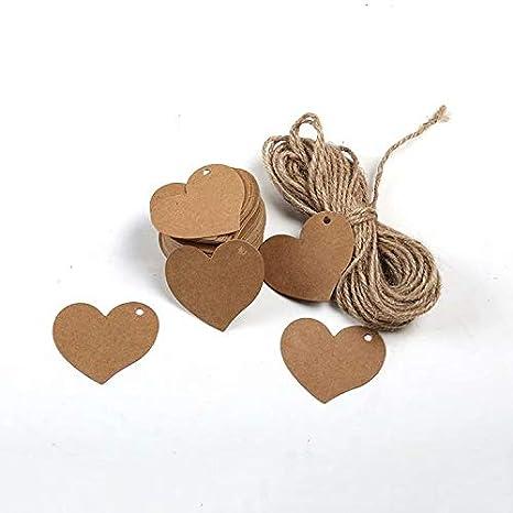 100 piezas Kraft blanco en blanco etiqueta de papel para tarjetas regalo de boda, etiqueta del regalo, bricolaje etiqueta, etiqueta del equipaje, ...