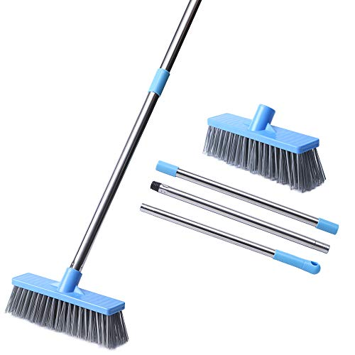 "HUYIJJH Floor Scrub Brush with Long Handle-52.8"", Stiff Bristle Tub and Tile Grout Brush Scrubber with Adjustable Stainless Steel Handle for Cleaning Bathroom, Wall and Deck, Gray"
