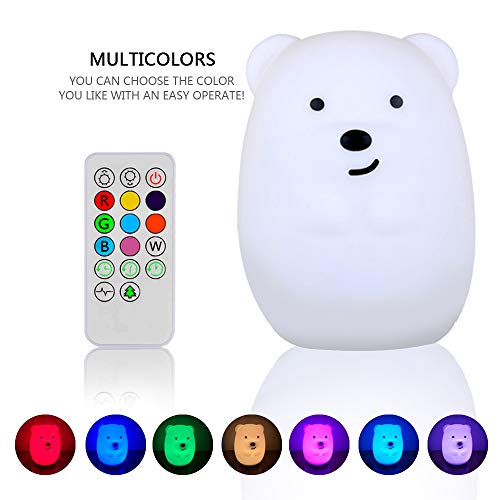 - Night Light for Kids, YHTechnology Soft Silicone Bear Baby Nursery Lamp with Sensitive Tap and Remote Control, LED Besides Lamp with Multicolor Best Gift for Children's Day