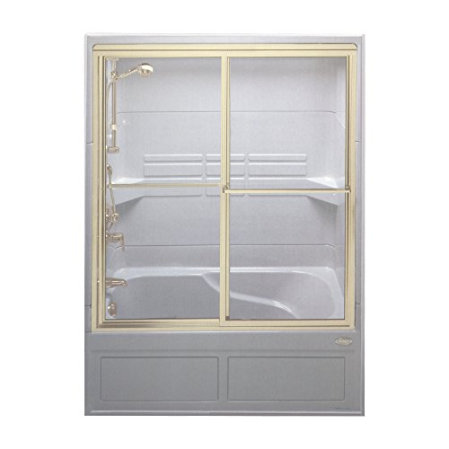 Jacuzzi J924866 Vintage Clear Glass Shower Steam Enclosure, Brass Trim (Jacuzzi Door Shower)