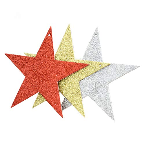 Aooaz Decor Christmas Tree Decorations Glitter Sequins Five-Pointed Star Pendants Six Light Green(10CM)