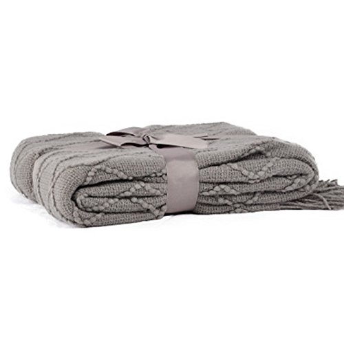 "Battilo Diamond Pattered Woven Decorative Throw Blanket, 50"" W by 60"" L, Grey"
