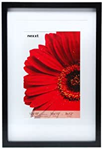 nexxt Gallery Wood Picture Frame, 12 by 18-Inch Double Matted for 10 by 15-Inch or 8 by 12-Inch photo, Black