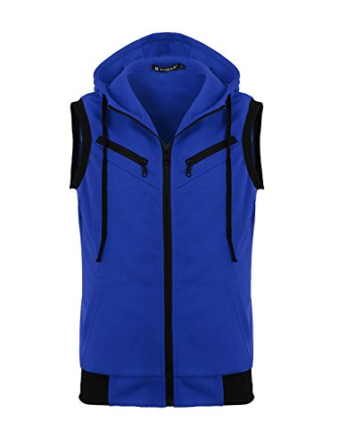 (uxcell Men Ribbed Hem Fake Chest Pocket Hoodie Vest Blue L US 44)