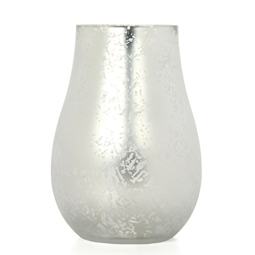 "Hosley Silver Frosted Glass Floral Vase Lantern 8"" High. Ideal Gift for Weddings, Bridal, Spa, Meditation, Reiki, Rose Vase, Nautical Settings, Storage LED Candle Votive Garden P2"