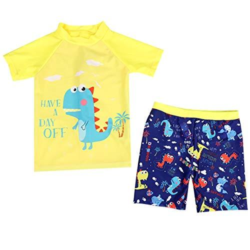 Kids Baby Boys Two Piece Bathing Suits Short Sleeve Rash Guard Sets UPF50+ Sun Protection Dinosaur Swimwear Yellow (Infant Sun Protection Suit)