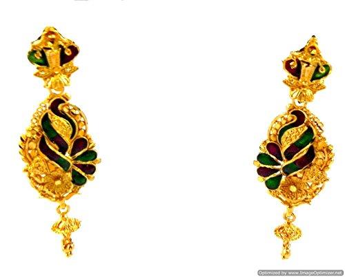 Earrings set Gold Plated Enamel Meenawork Beautiful Colors Designer Indian Jewelry (Style NO. (22k Gold Earring Set)