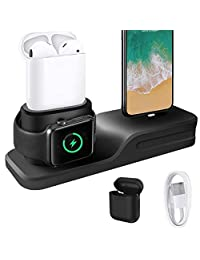 KEHANGDA 3 in 1 Charging Stand for iPhone AirPod Apple Watch Charger Dock Station Silicone for Apple Watch Series 3/2/1
