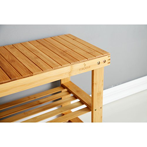 Natural Bamboo Entryway Bench (27.6'' X 11.2'' X 17.9''), Mosa Hallway Wood Shoe Bench Wooden Shoe Rack Bedroom by Mosa (Image #4)