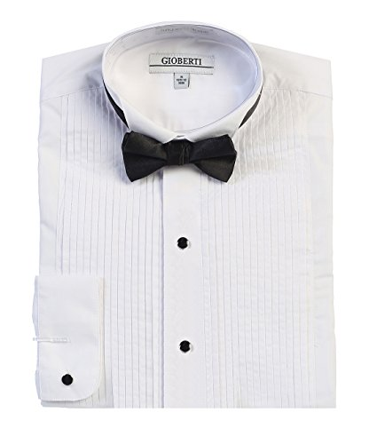 Gioberti Men's Wing Tip Collar Tuxedo Dress Shirt with Bow Tie, White, Large - Tuxedo Collar Mens Wing
