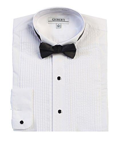 Gioberti Men's Wing Tip Collar Tuxedo Dress Shirt with Bow Tie, White, Large - Mens Tuxedo Wing Collar