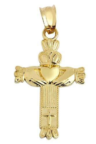 14k Yellow Gold Claddagh Charm Celtic Cross Pendant (Womens Celtic Charm)