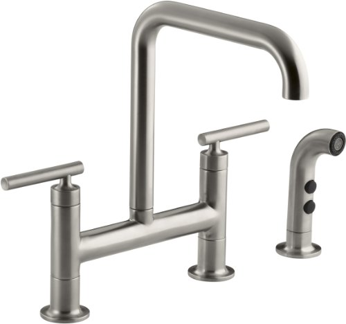 KOHLER K-7548-4-VS Purist Deck-Mount Bridge Faucet with Sidespray, Vibrant Stainless