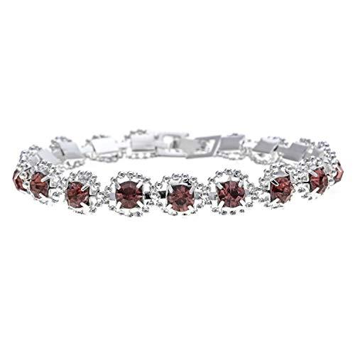 TILLY ANDERSON Classic Ocean Crystal Bracelets Bangle Fashion Silver Color Bracelets for Women Wedding Jewelry Gift,B ()